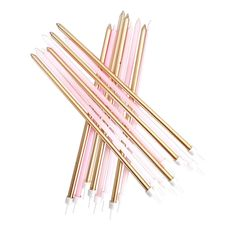 A gorgeous pack of 24 long candles in pink and metallic gold Bubblegum Balloons, Up Balloons, Birthday Cake Decorating, Gold Party, 1st Birthday Parties, Gold Glitter, Pink And Gold, Pretty In Pink, Pink