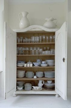 Final house: have a hutch like this for all the dishes we use.  No cabinets up top!  Save that space for hanging pots and pans, plants, spice wracks, art, etc.