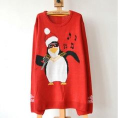 aa6eabcd261a Lana Hua Womens Unisex Penguin Print Christmas Sweater Knitted Jumper Red Plus  Size   Check out this great product.
