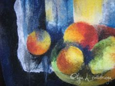 Felted wool painting Still Life with Lemon, fragment - by Olga Levitskaya.