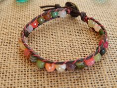 Agate and leather bracelet natural greek by BeaDazzleJewels, $34.00
