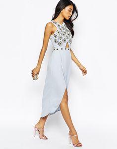 Image 4 of Virgos Lounge Candace Jewelled Bodice Midi Dress With Wrap Front Skirt