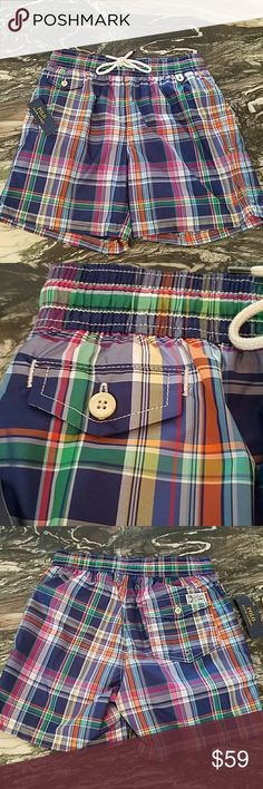 Polo Ralph Lauren Swim Trunks for Men New Polo Ralph Lauren Classics2 Swim Trunks for Men   Elasticized waist   Drawstring waist  Back button closure pocket   Front button pocket  100% Polyester   Lining  Pair with Masters Green Polo Tshirt in separate listing! Polo by Ralph Lauren Swim Swim Trunks