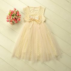 Retail Girl lace dress with Pearl bow for Summer Children princess dress for 2-6 years Free Shipping US $15.90