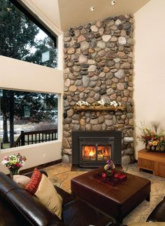 Rock Fireplace with Mantle