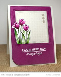 Spring Tulips stamp set and Die-namics, Houndstooth Background, Blueprints 22 Die-namics, Inside and Out Diagonal Stitched Square STAX Die-namics - Cindy Lawrence #mftstamps