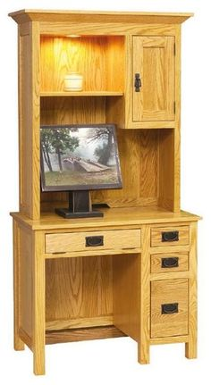 "Amish Mission Desk with Hutch Top This Mission Desk is only 36"" wide. It makes use of vertical space to provide an office area, saving you room. Simple mission style crafted from the solid wood of your choice. #smalldesk #desk #wooddesk"