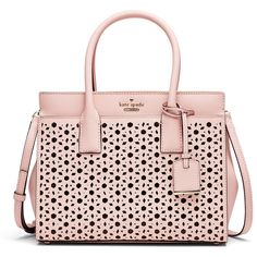 kate spade new york accessories Perforated Pink Candace Satchel (€44) ❤ liked on Polyvore featuring bags, handbags, pink handbags, handbag satchel, satchel style purse, pink satchel handbags and satchel style handbags