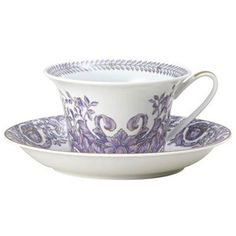 Versace Le Grand Divertissement Saucer (1.028.885 IDR) ❤ liked on Polyvore featuring home, kitchen & dining, drinkware, versace, versace tea cup and porcelain tea cups