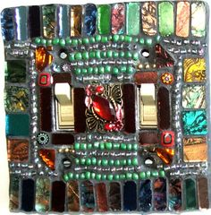 Mosaic Light Switch Plate Cover Raja Double by TexasTilers on Etsy, $27.00