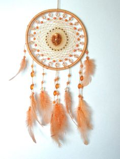 Beige dreamcatcher, Boho dream catcher, Bohemian bedroom wall decor, Pastel beaded tapestry, Ethnic wall art, Native american, Gift for her