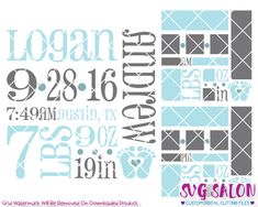 Baby Boy Birth Announcement Template Cut File in SVG, EPS, DXF, JPEG, and PNG