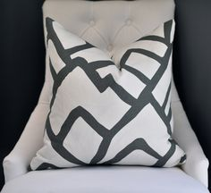 """On BOTH SIDES - 20""""sq. Schumacher Zimba pillow cover in Charcoal. $70.00, via Etsy."""