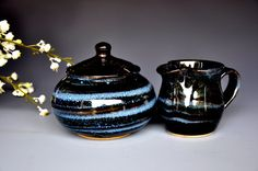 Black and Blue Sugar Bowl and Creamer. Handmade Ceramics on Etsy, $54.00