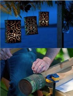 How To Make Starry Lanterns From Old Cans | http://diyfunideas.com/how-to-make-starry-lanterns-from-old-cans/
