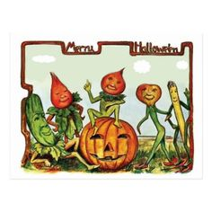 #Alive vegetables wish you a Merry Halloween Postcard - #halloween #party #stuff #allhalloween All Hallows' Eve All Saints' Eve #Kids & #Adaults
