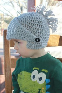 Crochet Knight Helmet Beanie. Newborn Adult Sizes. by KraftyShack