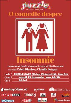 Teatru – O Comedie despre insomie Movies, Movie Posters, Insomnia, Films, Film Poster, Cinema, Movie, Film, Movie Quotes