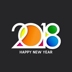 Colorful Happy New Year 2018 Wishing Greeting Image