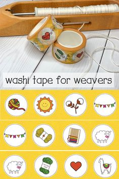 This washi tape is a perfect gift for a weaver - with cute sheep, alpacas and of course yarn! Yarn Crafts, Fabric Crafts, Paper Crafts, What Is Washi Tape, Cute Sheep, Fibre And Fabric, Weaving Projects, Tapestry Weaving, Fiber Art