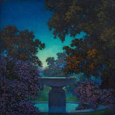 urgetocreate:  Maxfield Parrish, The Blue Fountain (Study for Reveries), ca,1925
