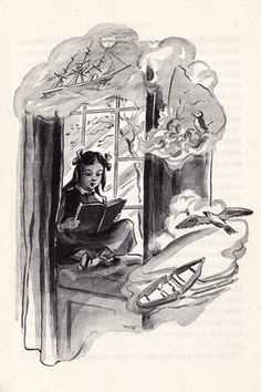 """I mounted into the window-seat: gathering up my feet, I sat cross-legged, like a Turk"" (Bernice Oehler, 1947)"