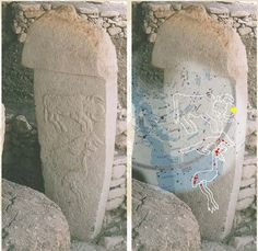 Cow, Fox and Crane stone and with overlying modern star map at Göbeklitepe Turkey With such a good correspondence between the figures and the stars, the cow represents a particular dilemma. The stars apparent above the fox do not well match the cow shape in terms of a constellation and this region of the sky containing Hercules and Bootes is already represented by other stones. The orientation of the cow itself is curious, the body is seen from the side where the head is viewed from the…