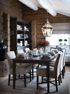 look/concept for dining sandwiched between kitchen and family room. Love the long table, lantern, seagrass. (via slettvoll) Log Cabin Homes, Cabin Interiors, Cabins And Cottages, Cuisines Design, Dining Room Design, Interior Architecture, Interior Decorating, House Design, House Styles