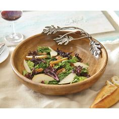 """Shop Mud Pie featuring the Oak Leaf Serving Bowl (4601054)! This 14"""" bowl is crafted with stunning mango wood and cast aluminum oak leaves for a charming design that will accentuate any table top. Enjoy free shipping every day.... $55.00"""