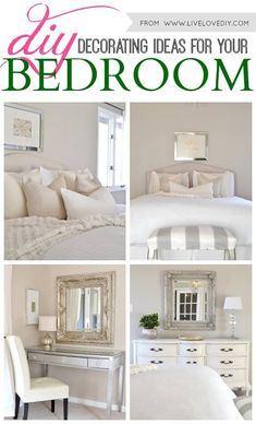 Neutral bedroom with touches of shiny silver to add some GLAM to the room.