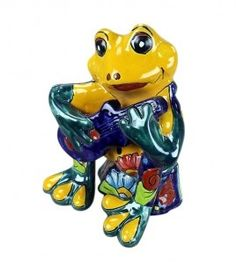 Talavera Style Frog with Guitar