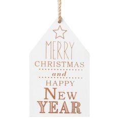 Déco de Noël maison en bois MERRY XMAS COPPER   - Vendu par 12