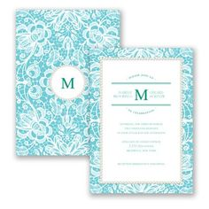 Pearls & Lace - Wedding Invitation - Floral Lace, Traditional Classic at Invitations By David's Bridal