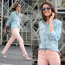 light blue denim blouse + pink jeans