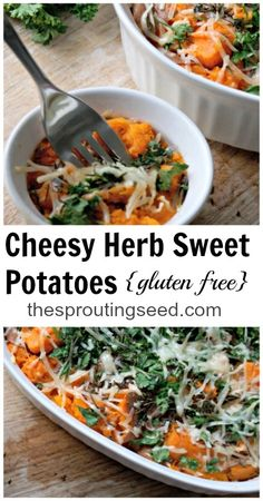 My family LOVES these cheesy herb sweet potatoes! thesproutingseed.com #sweetpotatoes #glutenfree