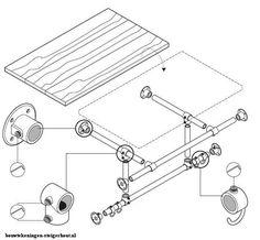 Bouwtekening voor een kapstok garderobe entreemeubel om van steigerbuis en steigerhout te maken.