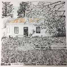 Pen and watercolor on Arches paper Ink Pen Art, Arches Paper, House Illustration, Pen And Watercolor, Watercolors, Fairy, Cottage, Draw, Outdoor