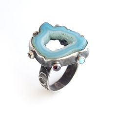 Ring with Blue Agate and Garnet, Turquoise, Amethyst, Olivine and two Tourmalines