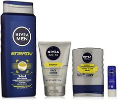 NIVEA Men Energy Collect features a body wash, face scrub, double action balm, and lip care.