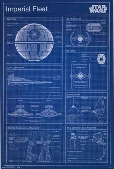 Build your own Death Star or AT-AT! A great Star Wars blueprint poster of vehicles from the Imperial Fleet! Fully licensed. Ships fast. 22x34 inches. Check out the rest of our stellar selection of Sta