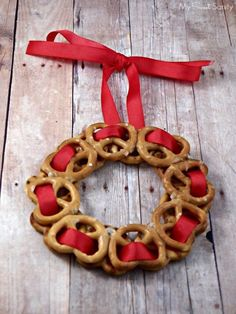 Pretzel Wreath Ornaments a great craft gift idea for kids to make.