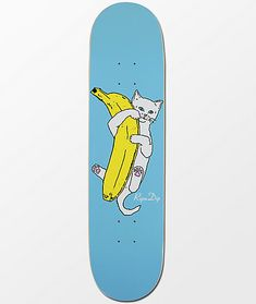 Draped in classic RIPNDIP styling, the Nermal Banana Skateboard Deck is featured with your favorite quirky cat, Lord Nermal, holding a bright yellow banana with a sky blue background. Painted Skateboard, Skateboard Deck Art, Skateboard Design, Custom Skateboard Decks, Beginner Skateboard, Penny Skateboard, Surfboard Art, Custom Skateboards, Cool Skateboards