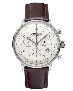 The Junkers Bauhaus 6086-5 Chronograph Watch is made in Germany and features a 40mm stainless steel case, Swiss Ronda 5030.D movement with a domed hesalite crystal.