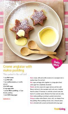 Creme Anglaise with Malva Pudding Malva Pudding, Scottish Recipes, South African Recipes, Tart Recipes, Desert Recipes, Recipe Cards, Love Food, Food And Drink, Tasty