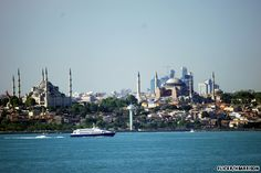 Look over the Sea of Marmara to the Blue Mosque and the Hagia Sophia in Istanbul