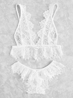Eyelash Lace Plunge Lingerie Set