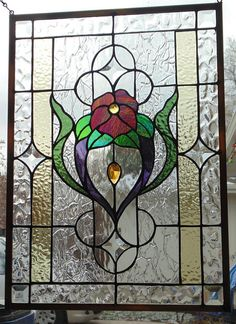 Stained Glass Window Hanging 21 X 15 Stained Glass Door, Custom Stained Glass, Stained Glass Christmas, Stained Glass Flowers, Stained Glass Designs, Stained Glass Panels, Stained Glass Projects, Stained Glass Patterns, Leaded Glass