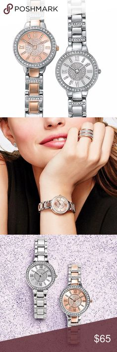 """Elegant Avon Watch Created with Swarovski Crystals FEATURES • Watch is 7"""" long with a 1"""" extender • Width of band is 1/2"""" • Swarovski Crystals are 1.4mm • Face only is 7/8"""" • Face including casing is 1 1/8"""" • Extender link is removable • SR626SW battery • Splash-proof • Genuine Swarovski crystals • Quartz-PC21S-Movement • Foldover clasp • 63 grams  MATERIALS • Shiny silvertone plating • Swarovski crystals (72 total) • Stainless steel • Glass • Brass • Zinc  CARE • Use jewelry and watch care…"""