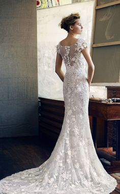 Featured Dress: Lusan Mandongus; Wedding dress idea.