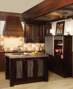 Milan Oak, Sienna, and Vienna Maple, Espresso Wellborn Cabinet